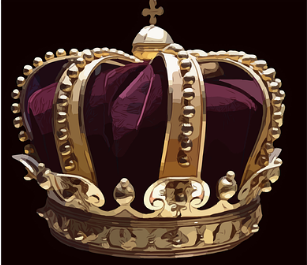 Image of a golden crown with a burgundy velvet hat inset.