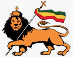 Image of lion marching holding flag in Rastafarian colours.