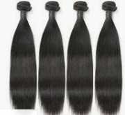 Four wefts of black human hair extensions.